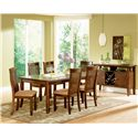 Steve Silver Montreal Transitional Cushioned Slat Back Side Chair - Shown in 7-Piece Dining Set with Server