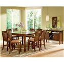 Morris Home Furnishings Montreal Transitional Square Counter Height Table - Shown in 9-Piece Dining Pub Set with Server