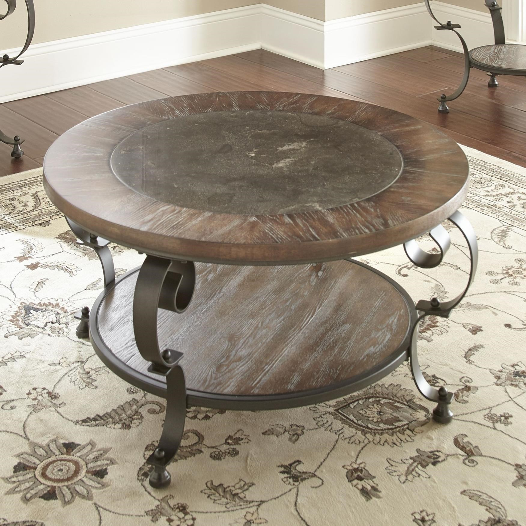 Steve Silver Mulberry Scroll Legged Round Cocktail Table With