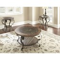 Steve Silver Mulberry Scroll Legged Round Cocktail Table With Bluestone Insert