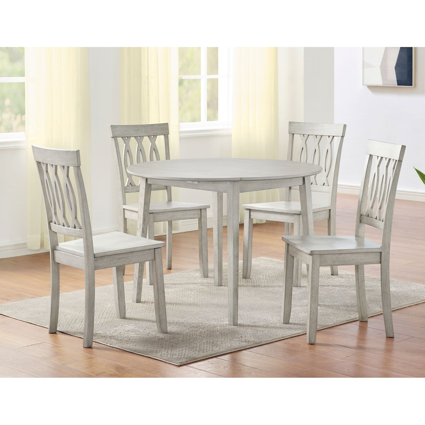 Silver Dining Table And Chairs, Steve Silver Naples 5 Piece Drop Leaf Dining Set In Antiqued White Dunk Bright Furniture Dining 5 Piece Sets