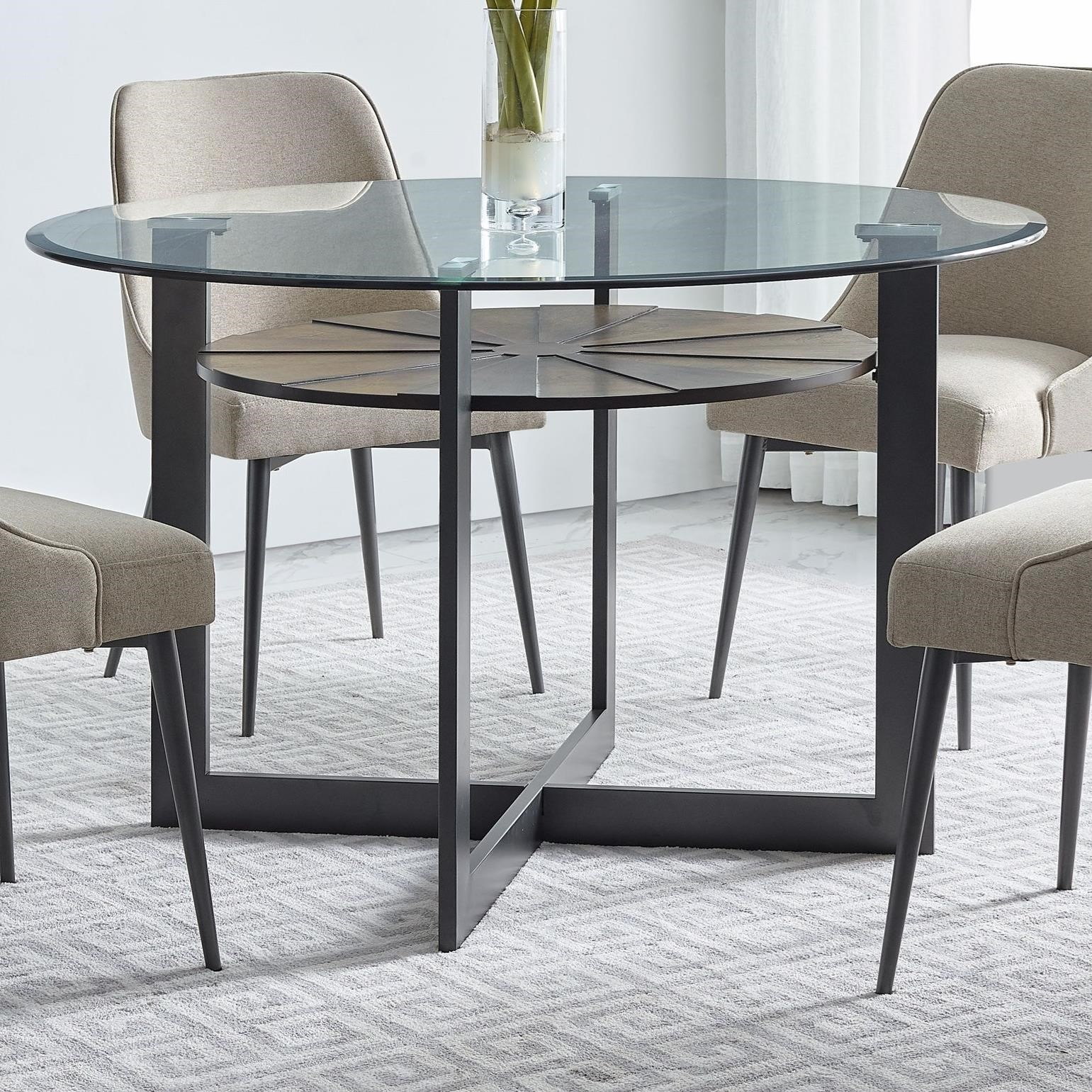 Olson Ss Contemporary Round Gl Dining Table With Iron And Birch Base By Vendor 3985 At Becker Furniture World