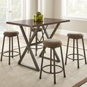 Steve Silver Omaha 5 Piece Counter Height Dining Set - Item Number: MH480PT+4xCS