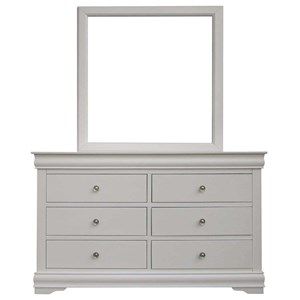 Vendor 3985 Orleans SS Six Drawer Dresser Mirror Combo