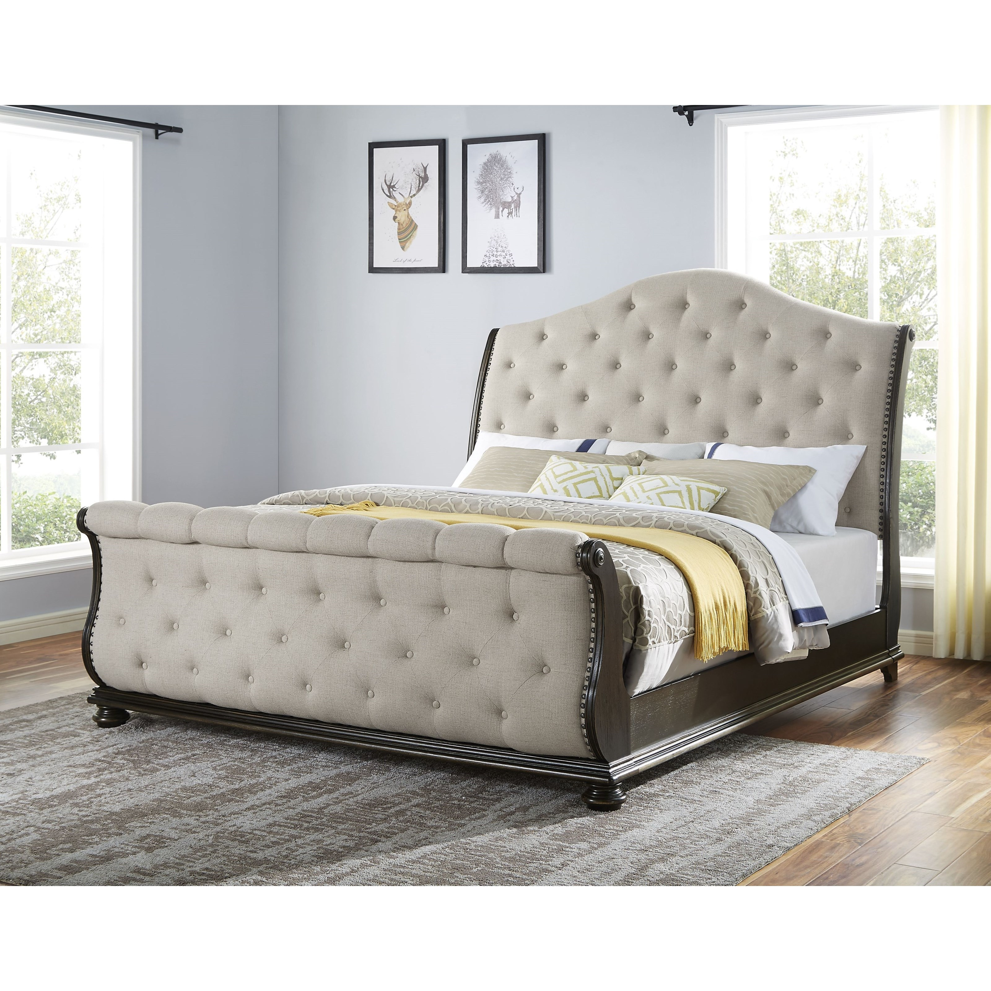 - Steve Silver Rhapsody Traditional King Upholstered Sleigh Bed With