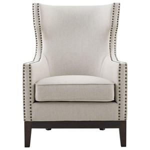 Linen Accent Chair with Brass Nailhead Trim