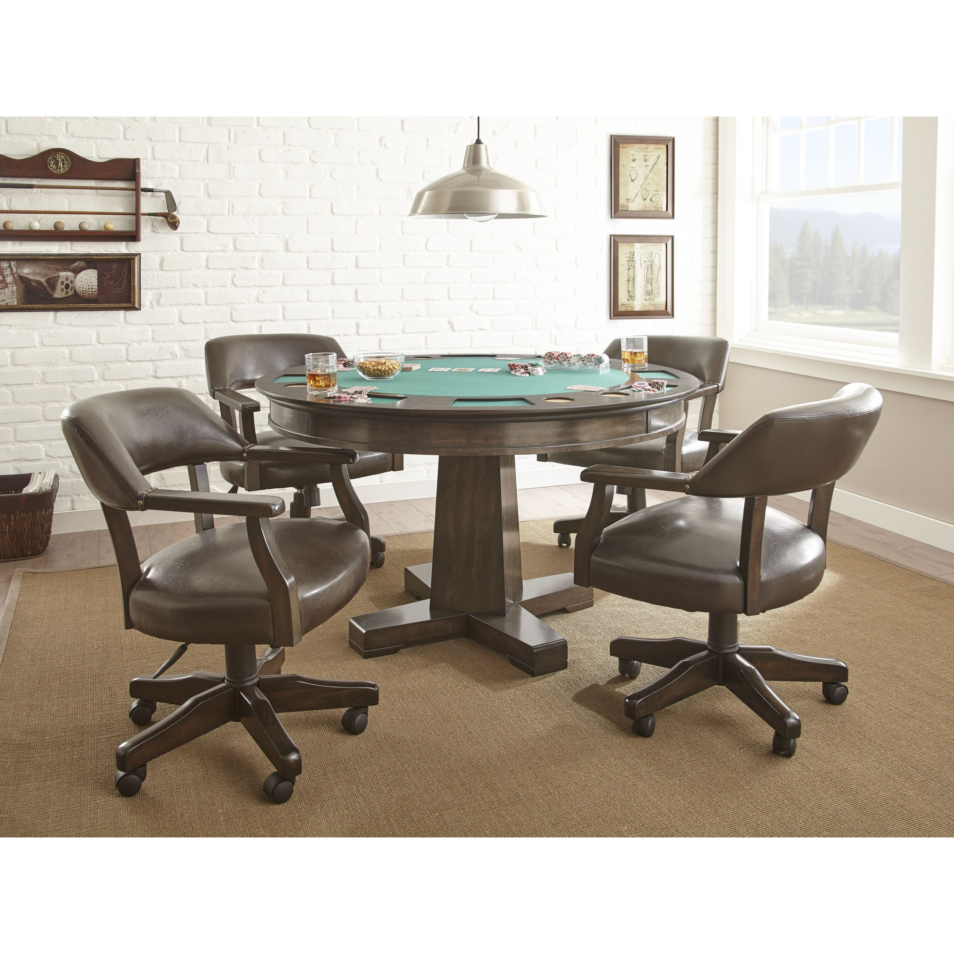 Steve silver ruby 2 in 1 round game table olinde 39 s for 12 in 1 game table groupon