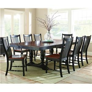 Morris Home Furnishings Samoa 9 Piece Table w/ Double Pedestal Base Set