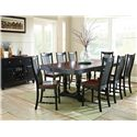 Vendor 3985 Samoa 9 Piece Two-Tone Dining Table w/ Double Pedestal Base and Slat Back Chairs Set