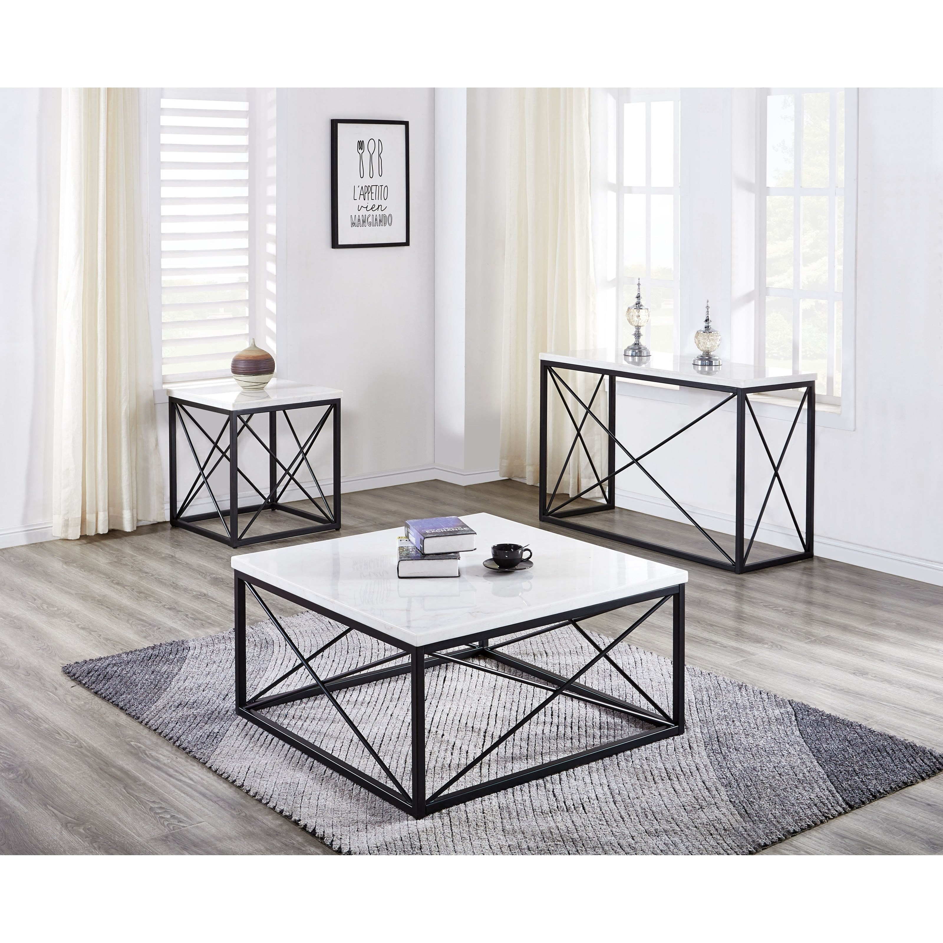 Contemporary White Marble Top Square Cocktail Table ...