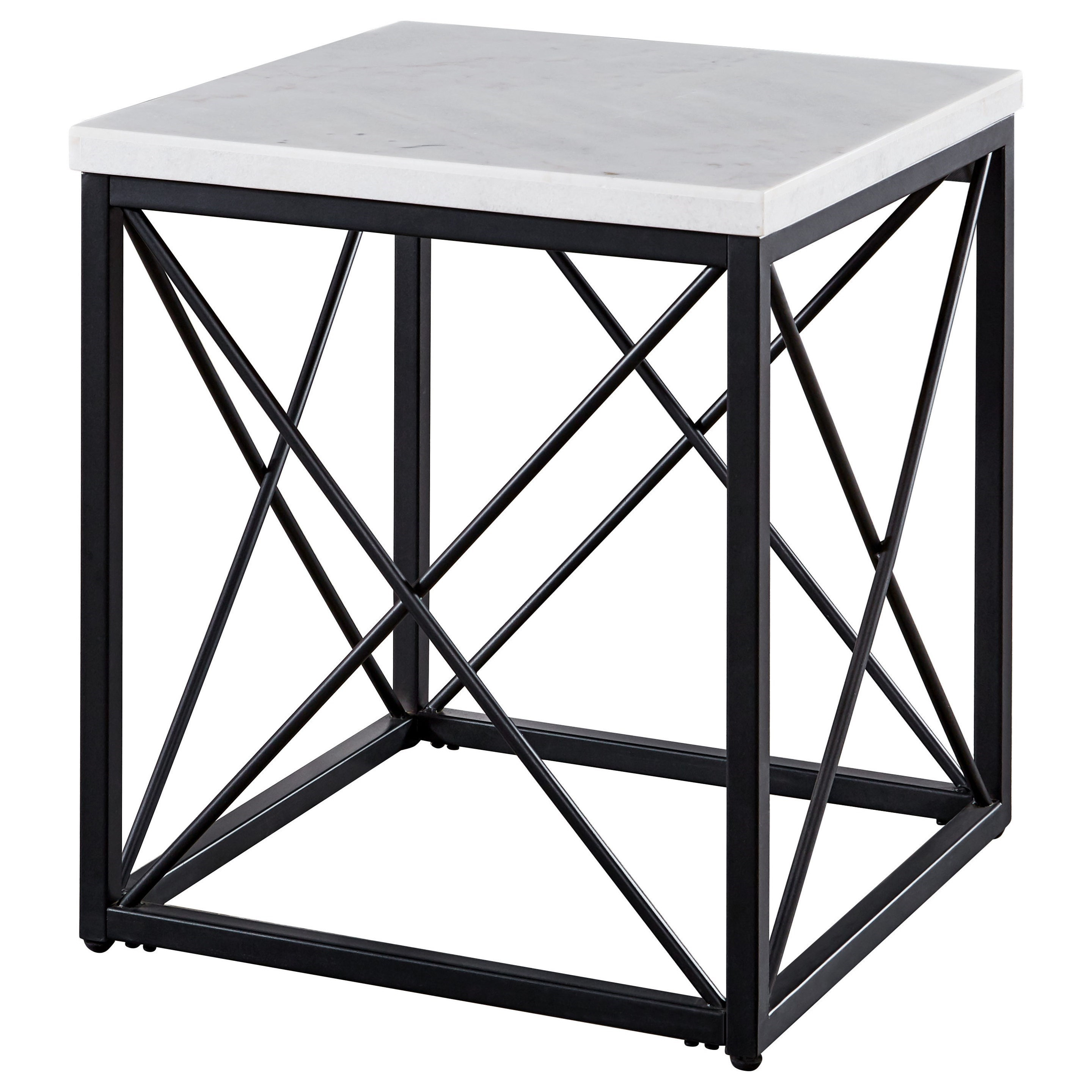 Salter White Marble Top Square End Table