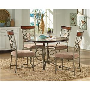 Steve Silver Thompson Dining Table with Metal Base & & 4 Side Chai