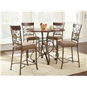 Steve Silver Thompson Metal and Glass Suncatcher Counter Height Dining Chair with Upholstered Seat