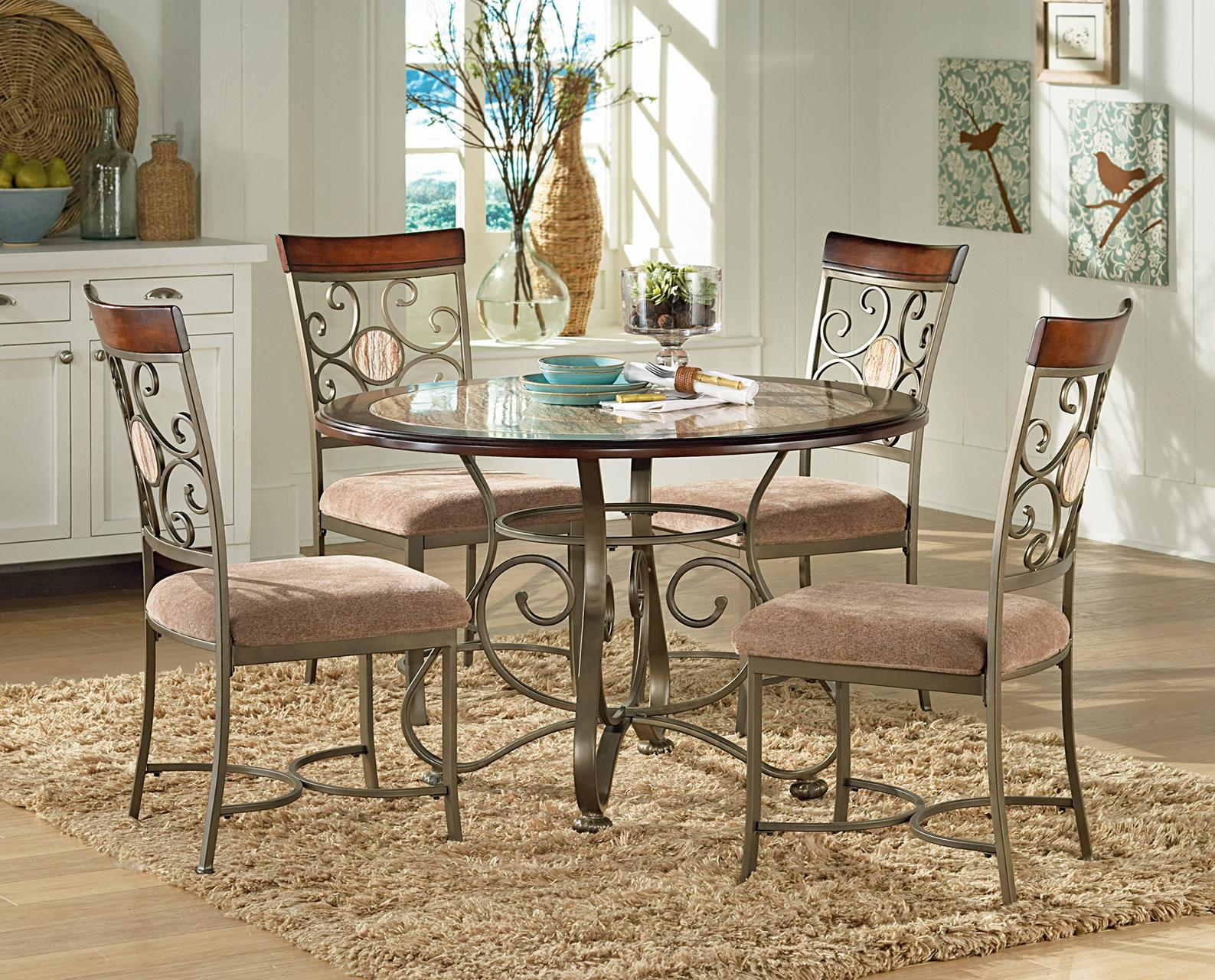 Thompson 5 Piece Metal Base Table and Suncatcher Dining Chair Set by Steve  Silver at Knight Furniture & Mattress