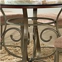 Steve Silver Thompson Scrolled Metal Base Round Top Table - Scrolled Metal Pedestal Base