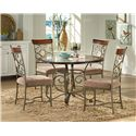 Steve Silver Thompson Scrolled Metal Base Round Top Table - Shown with Thompson Dining Chairs