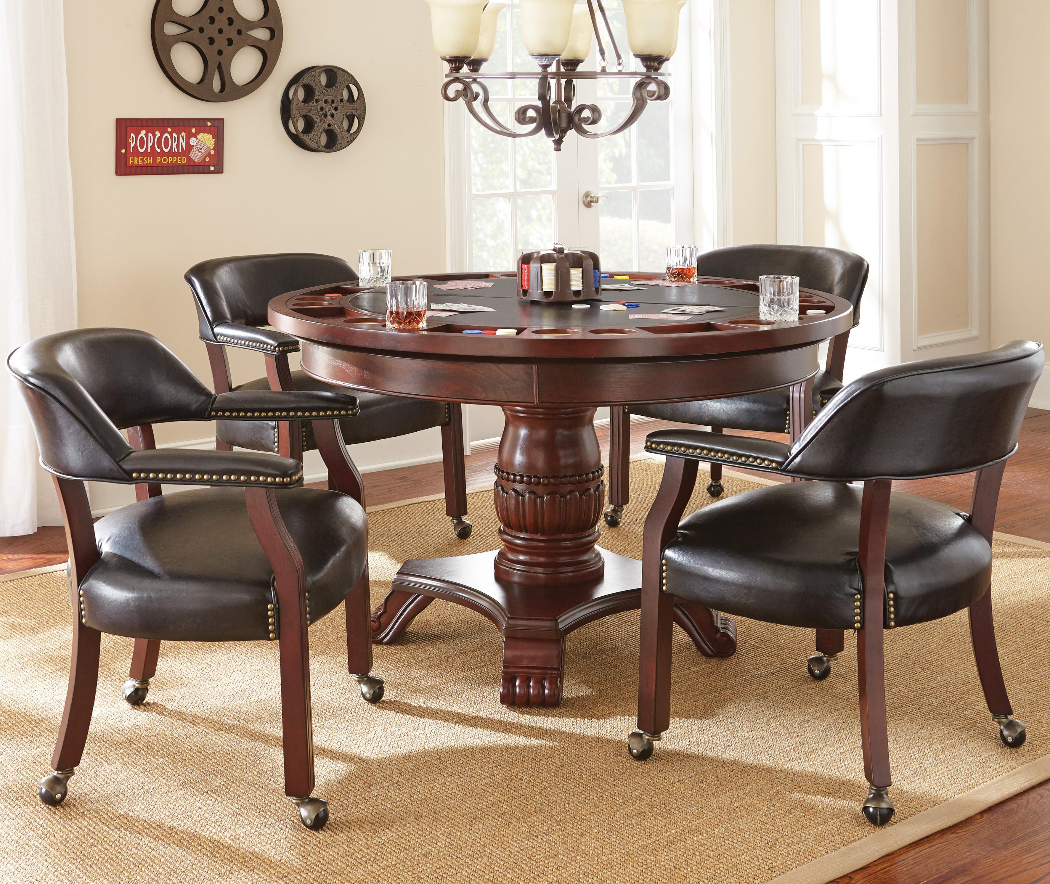 Steve Silver Tournament Tournament Round Game Table Caster Arm Chair Set Wayside Furniture Dining 5 Piece Sets