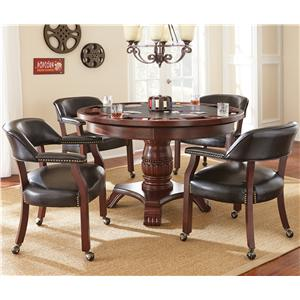 Steve Silver Tournament Tournament Game Table & Caster Arm Chair Set