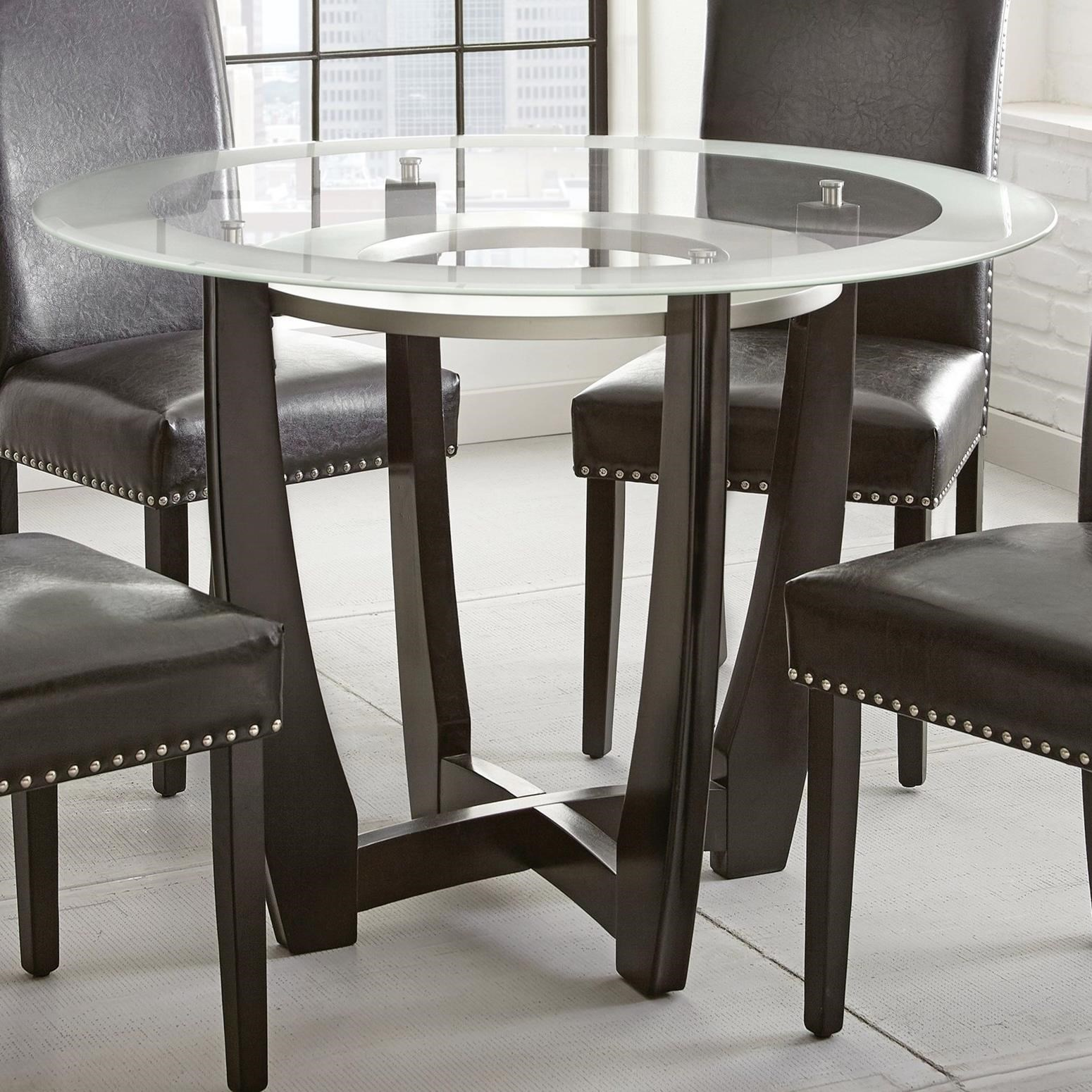 Picture of: Steve Silver Verano Contemporary 45 Round Glass Top Dining Table Standard Furniture Dining Tables