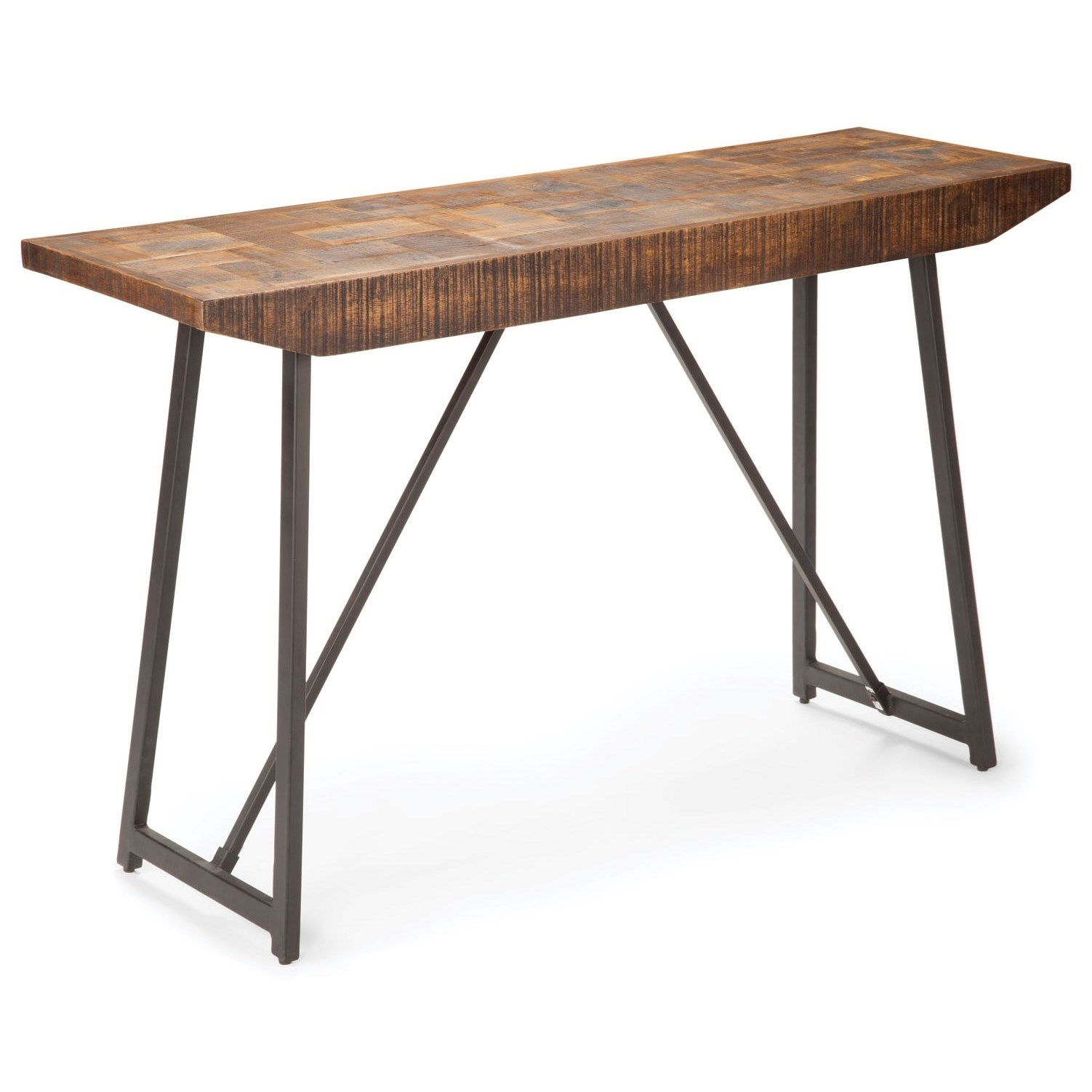 Walden Rustic Industrial Sofa Table with Parquet Pattern Wood Top by Vendor  3985 at Becker Furniture World