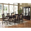 Morris Home Furnishings Wilson Contemporary Dark Brown Side Chair with Uphosltered Seat - Shown in 7-Piece Dining Set with China Cabinet