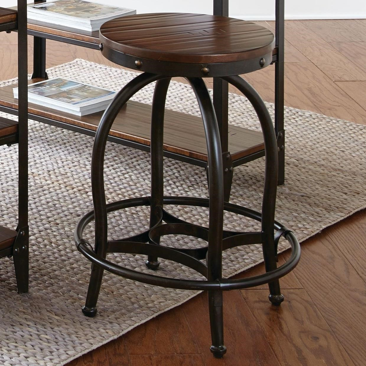 Industrial Counter Height Stool With Wood Seat Top Winston By