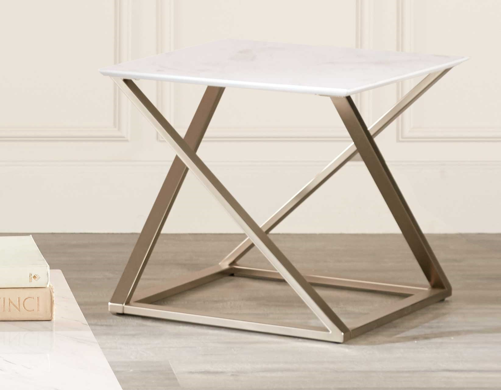 Picture of: Steve Silver Zurich Modern End Table With Faux Marble Top A1 Furniture Mattress End Tables