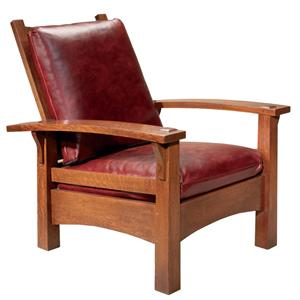 Oak Mission Classics Gustav Bow Arm Morris Chair by Stickley