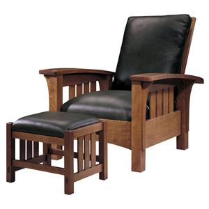 Stickley Oak Mission Classics Loose Cushion Bow Arm Morris Chair