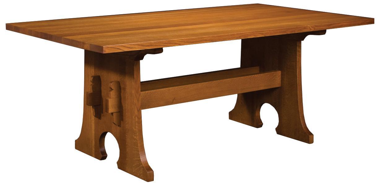 Stickley Oak Mission Classics Keyhole Trestle Table