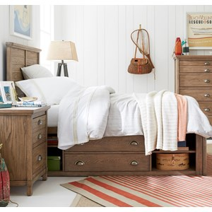 Stone & Leigh Furniture Driftwood Park Full Panel Bed with Underbed Storage