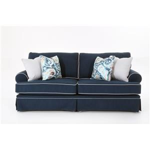 Traditional Queen Sleeper Sofa with Skirted Base