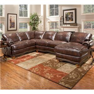Stratford Olympus Leather Sectional Sofa Group with Chaise ...