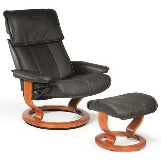 Admiral Medium Reclining Chair and Ottoman by Stressless at Virginia Furniture Market