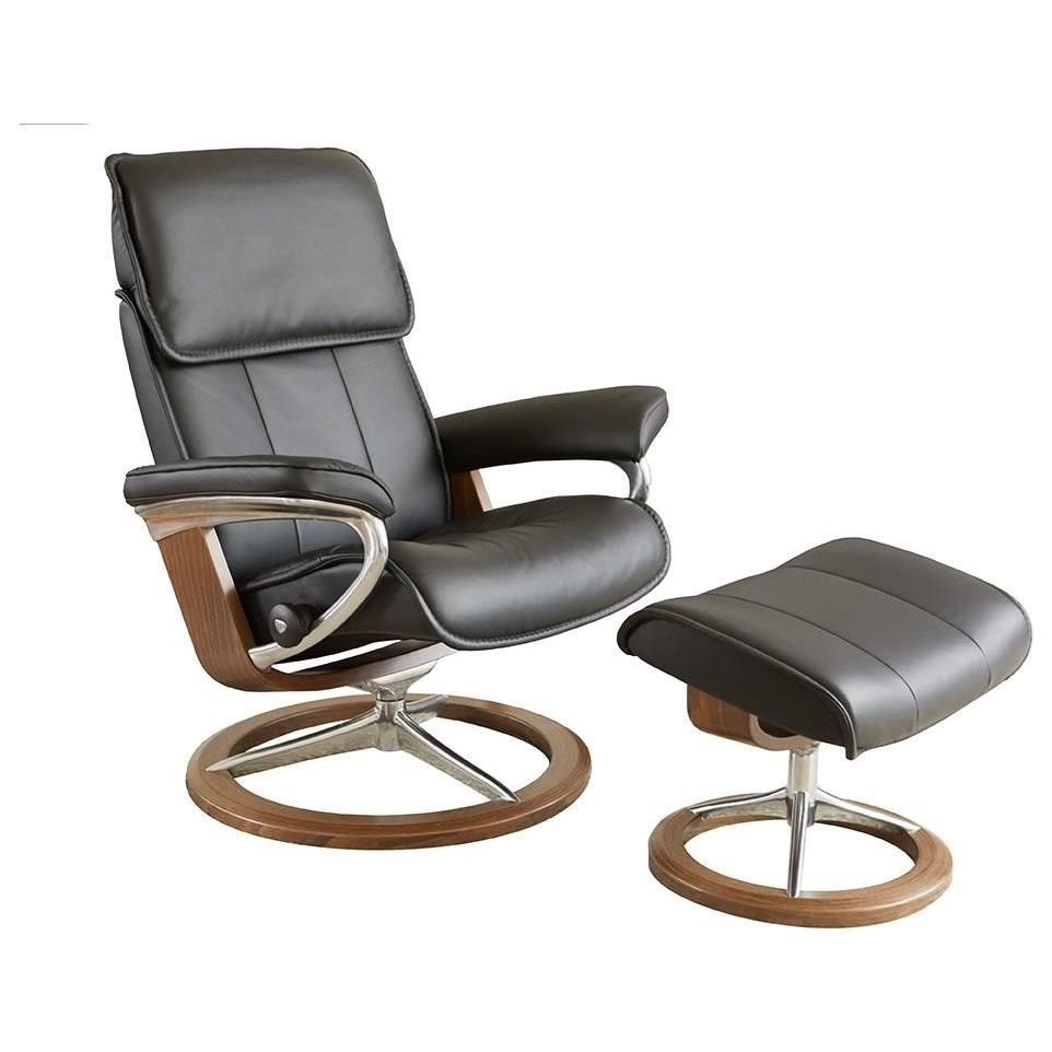 Admiral Medium Reclining Chair and Ottoman by Stressless at Jordan's Home Furnishings