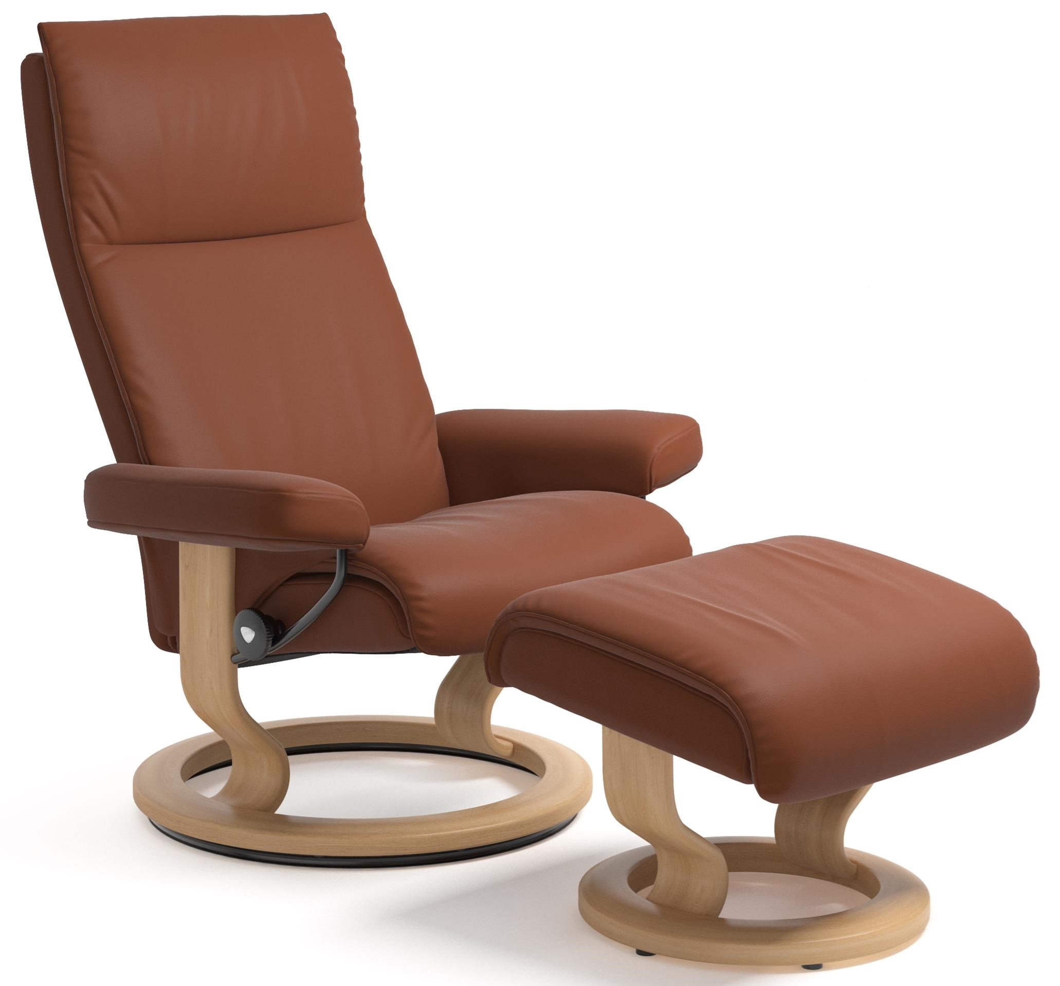 Small Chair With Ottoman: Stressless Aura Small Reclining Chair And Ottoman With