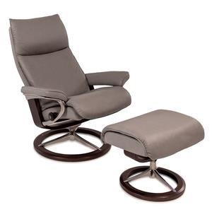 Stressless Aura Medium Reclining Chair & Ottoman