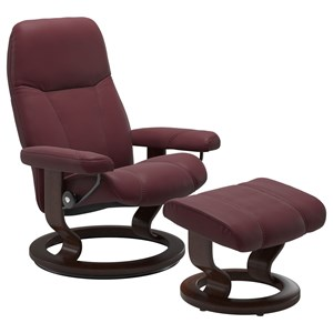 Small Chair & Ottoman with Classic Base