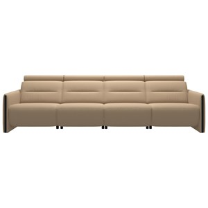 Power 4-Seat Sofa with Wood Arms