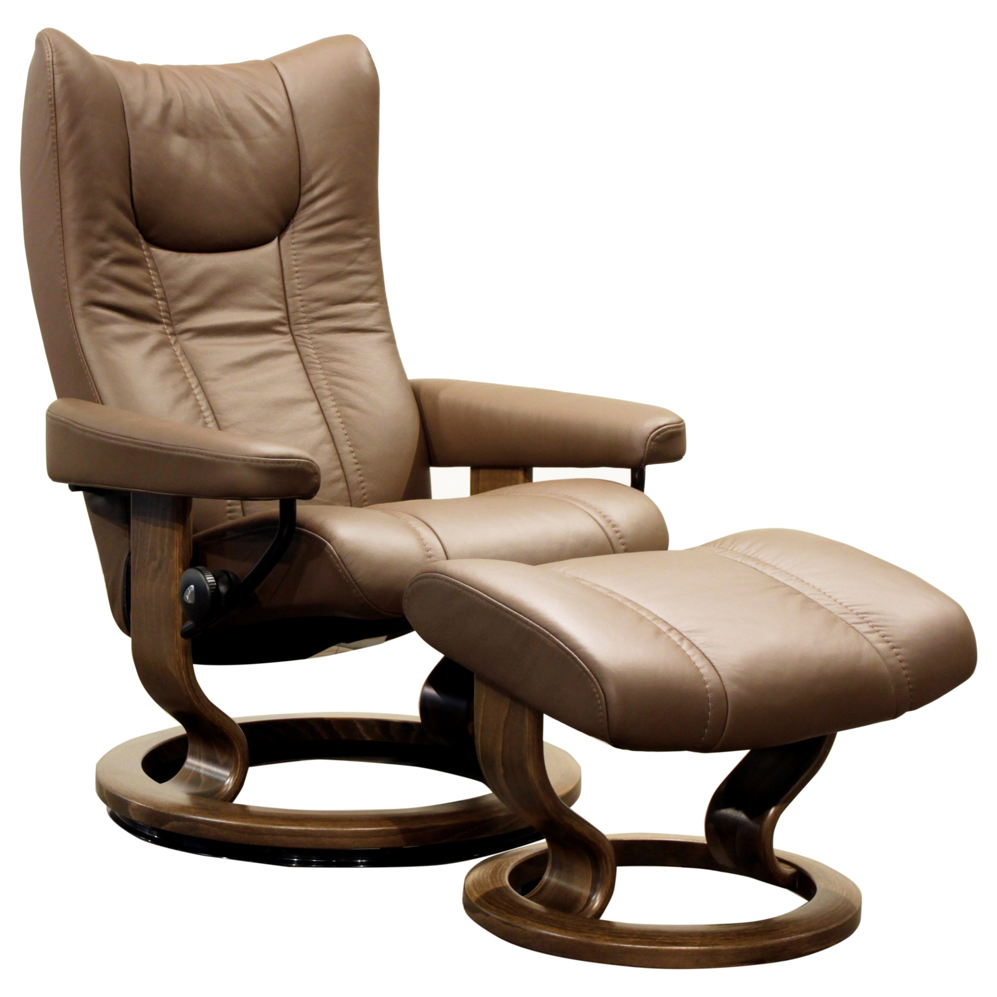 Wing Small Stressless Chair & Ottoman by Stressless at HomeWorld Furniture