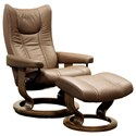 Stressless Wing Small Reclining Chair and Ottoman - Item Number: 10540150948806