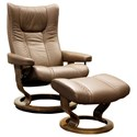 Stressless Wing Medium Chair & Ottoman with Classic Base - Item Number: 11610150948806
