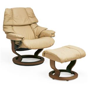 Stressless by Ekornes Stressless Recliners Reno Large Recliner & Ottoman