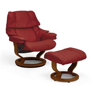 Large Chair & Ottoman with Classic Base