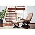 Stressless by Ekornes Garda Small Reclining Chair & Ottoman with Classic Base