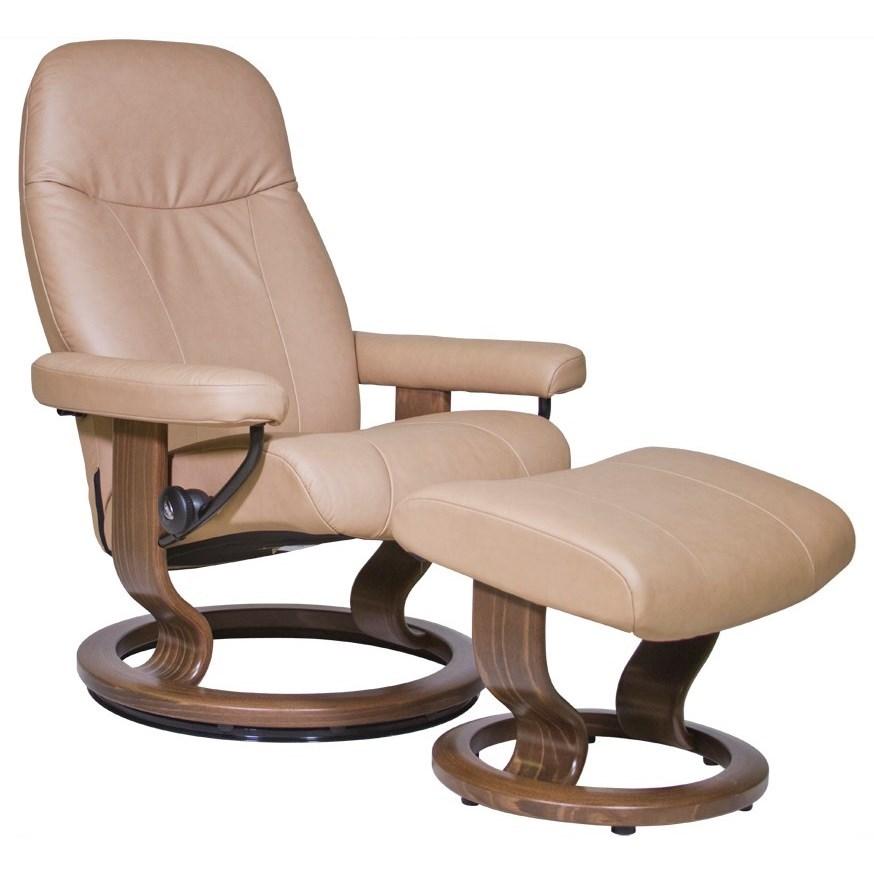 Stressless by Ekornes Garda Small Stressless Chair & Ottoman - Item Number: 13280150942106