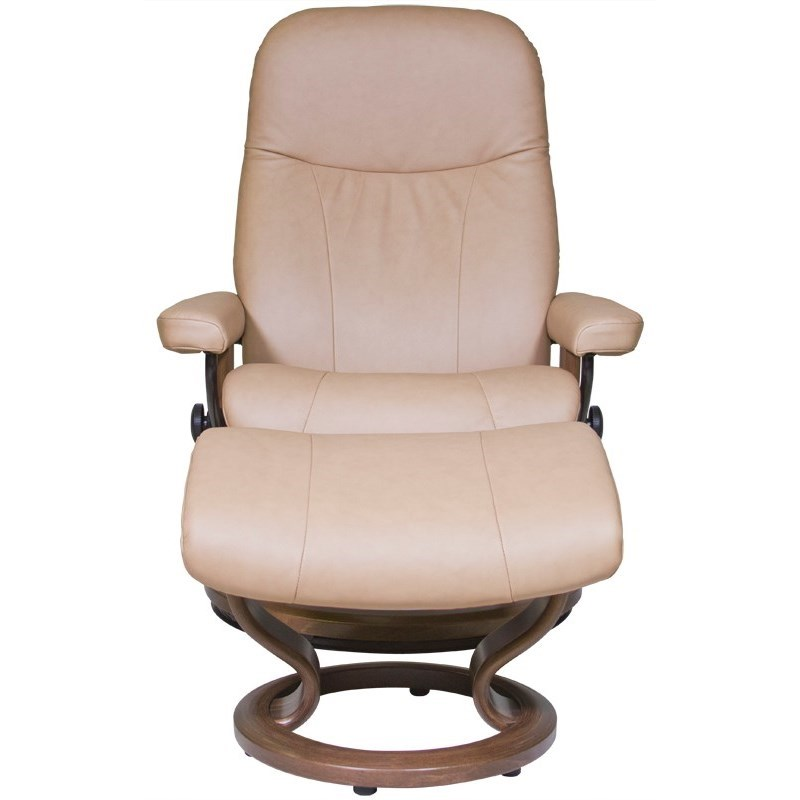 Stressless by Ekornes Garda Medium Stressless Chair u0026 Ottoman - HomeWorld Furniture - Reclining ...