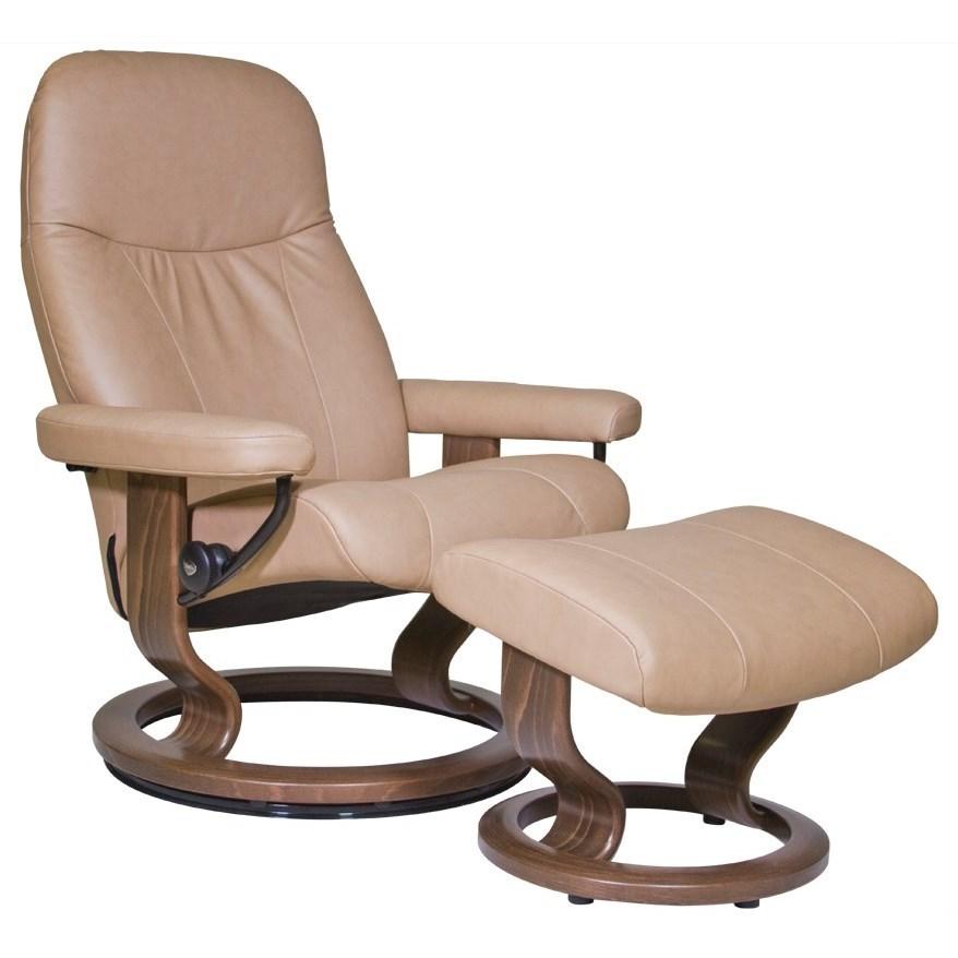 Stressless by Ekornes Garda Medium Stressless Chair u0026 Ottoman - HomeWorld Furniture - Reclining ...