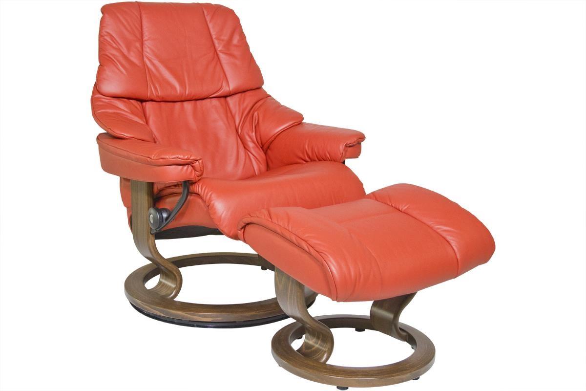 Stressless by Ekornes Reno Medium Stressless Chair & Ottoman - Item Number: 11690150940106
