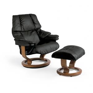 Stressless by Ekornes Reno Large Stressless Chair & Ottoman